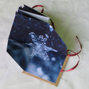 Yuki. Star-fold book. Inkjet print. Macro photos of snowflakes.
